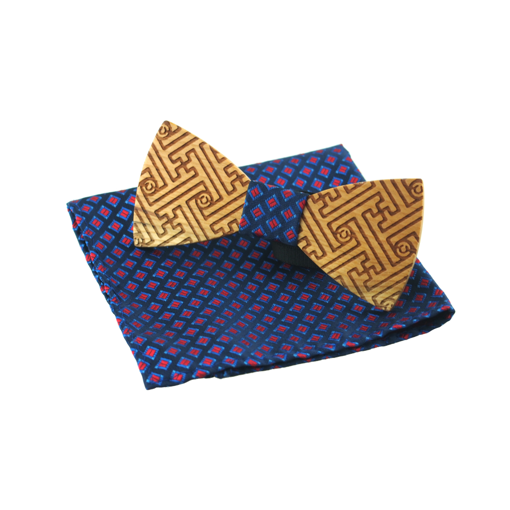 Di lusso del Legame di Arco di Legno Plaid Bowtie Set 2019 Regolabile Business Casual Wedding Cravatte