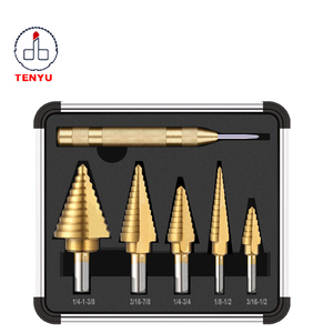 6pcs jiangsu danyang manufactory automatic center punch and spiral titanium hss step drill bit set
