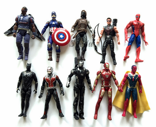 (New & Hot Movie) Captain America 3 Guerra Civile action figure set di 10 pcs, spider-man, Ironman PVC figure Super Hero giocattoli di Modello