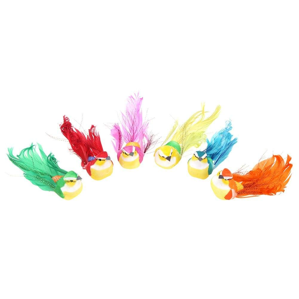 Awakingdemi Artificial Birds for Decoration, 12pcs Artificial Foam Feather Birds DIY Party Crafts Ornament Home Decor