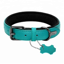 New Fashion 2 padded leather dog collar adjustable dog collars for medium dogs