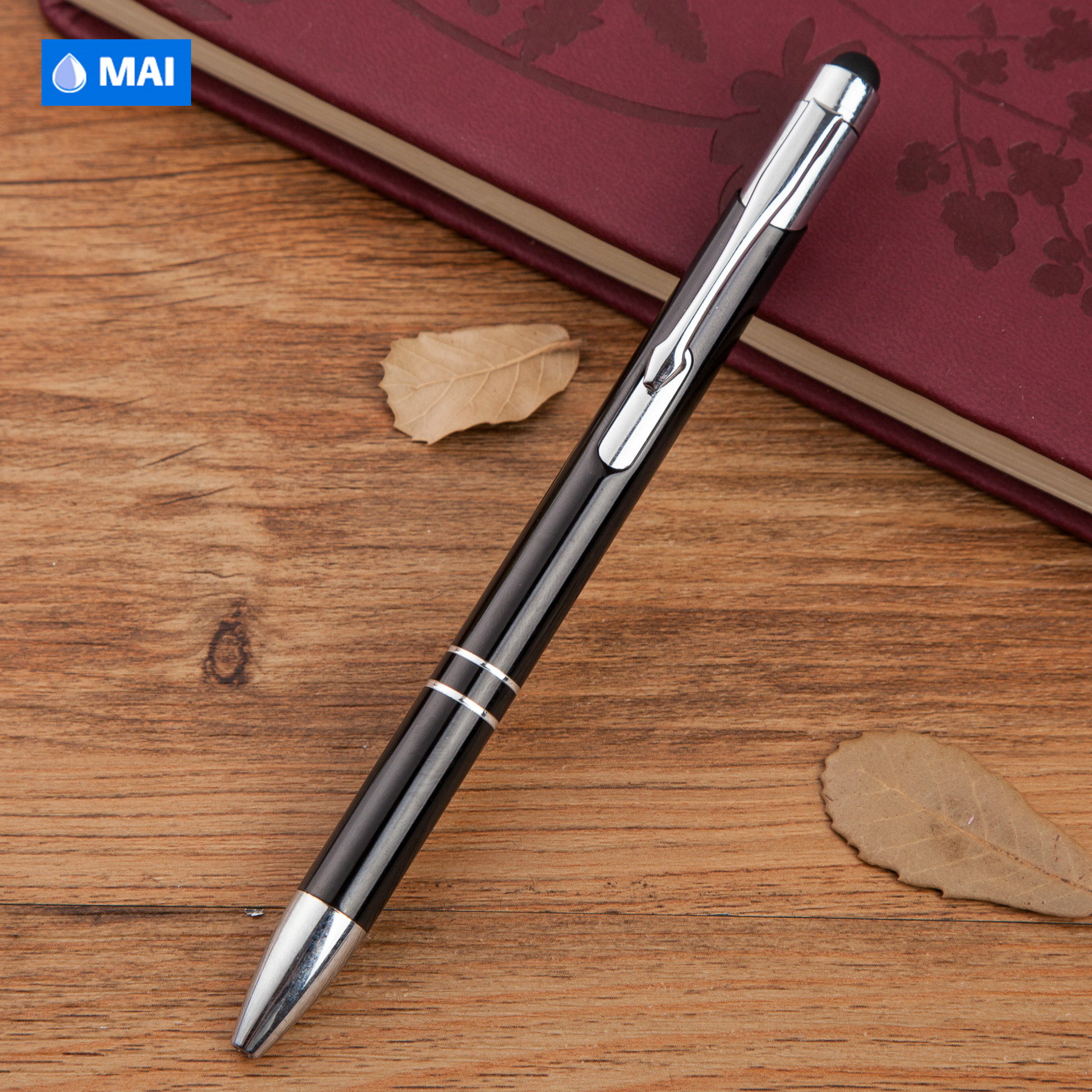 Wholesale custom logo advertising metal aluminum ball pen with stylus