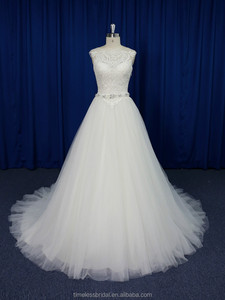 82ff7ce5a9 Stunning vintage lace appliqued bodice crystal belt bridal wedding dress  new design