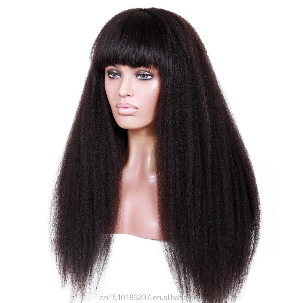 10A grade kinky straight virgin brazilian human hair lace front wigs with bangs