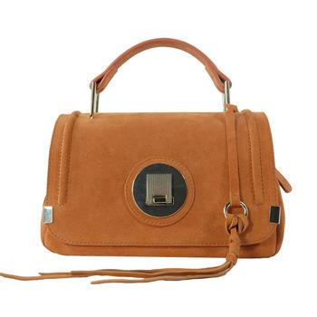 Fashionable Design Orange Women Suede Leather Genuine Leather Handbag 59c811da12796