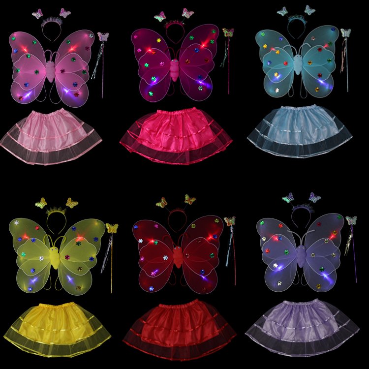 Double layer luminous fairy butterfly wings Four-piece suit Halloween costume butterfly wings