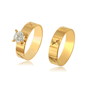 R-155 XUPING 24k gold plated two stone cz ring designs