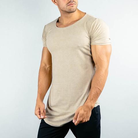 High Quality Bamboo Spandex Fabric Custom Mens Muscle Fit T Shirt Curved Hem T Shirt