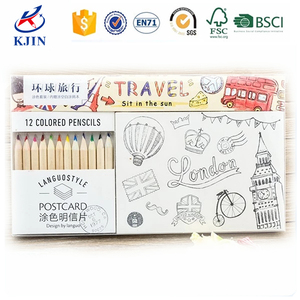 2016 world lovable gift drawing pack postcard color pencil set