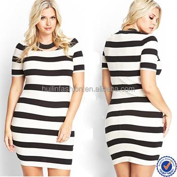 Alibaba Express Dresses Short Sleeves Stripe Bodycon Plus Size Women