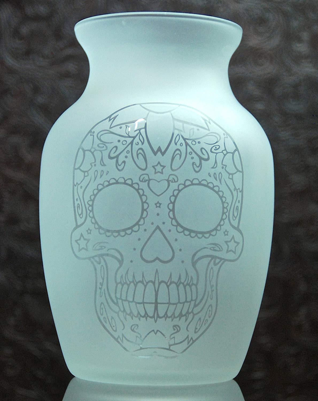 7.5 Inch Glass Etched Sugar Skull Vase - Design 6