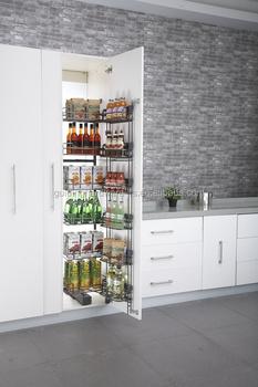 Kabinet Dapur Modern Desain Tinggi Unit R Hitam Nikel Basket Penutupan Lembut