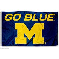 Custom NCAA Michigan Wolverines Large Go Blue 3x5 College mic Flag