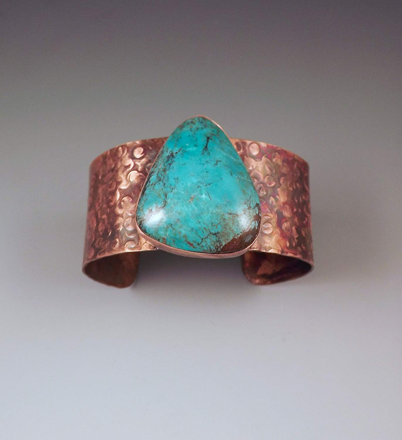 Turquoise Cuff- Hammered Copper- Tribal- Rustic- Earthy- Boho- Turquoise Copper Cuff Bracelet by RedPaw