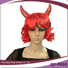 Cheap short red curly synthetic halloween party hair wig with ox horn