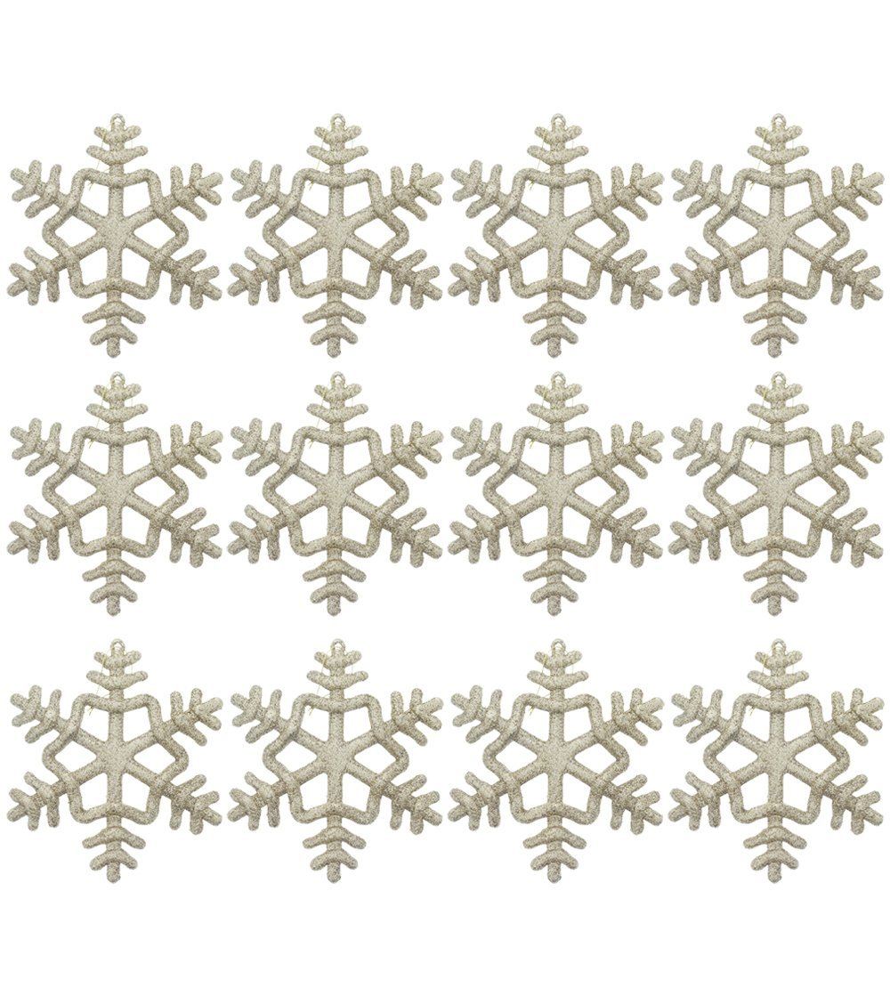 """Elegant Fancy Sparkling Shimmering Classic Christmas Holiday Glitter Snowflake Ornaments, Gold, Medium, Pack of 12, 6"""" x 6"""""""
