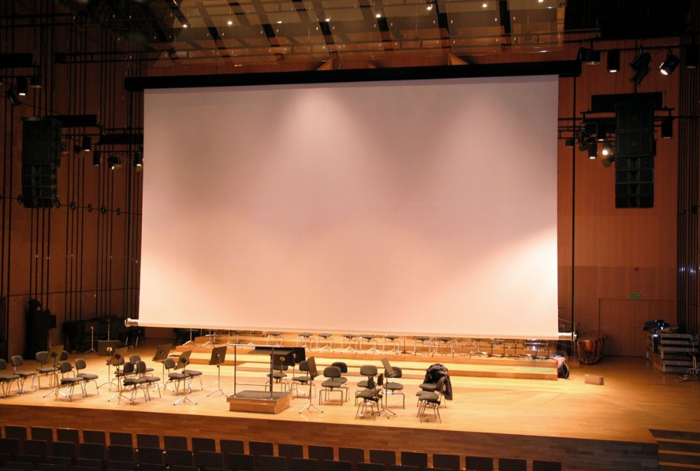 promotional 350 inch projector screen motorized large rear projection screen