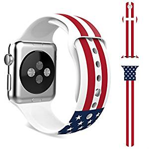Apple Watch Band,HAPPIGO Soft Silicone Replacement Sport Band for Apple Watch All 38mm Models(Not Fit 42mm Version 2015)(38mmM/L American Flag)