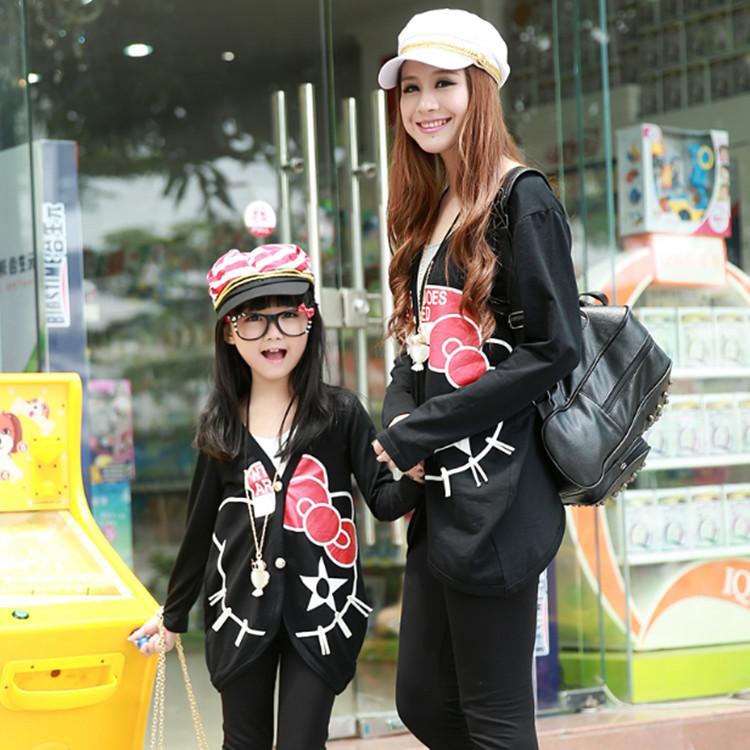 Мать и дочь соответствующие одежда семья мода рубашки форменные соответствующие наряды куртка одежда для девочек и мать