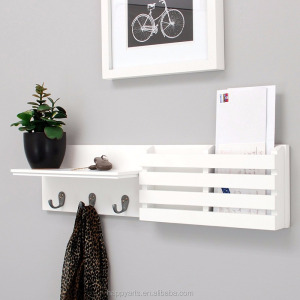Black or White Wooden Wall Floating Shelf and Mail Holder with 3 Hooks