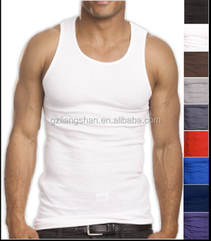 097d28f60c899a OEM Men s 100% Premium Cotton A-Shirt Top Quality Muscle Ribbed Wife Beater  Tank