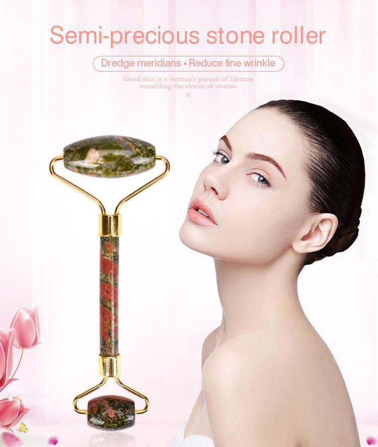 Nieuwe innovatieve producten Beauty & persoonlijke verzorging halfedelstenen Tianshan blauw grijs Jade Roller voor huidverzorging