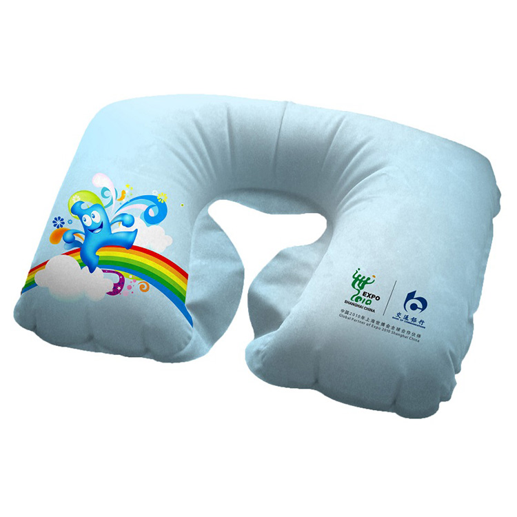 PVC Material U Shaped Travel Neck Pillow Inflatable