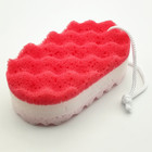 Colorful wave body cleaning exfoliating massage bath three layers coral sponge