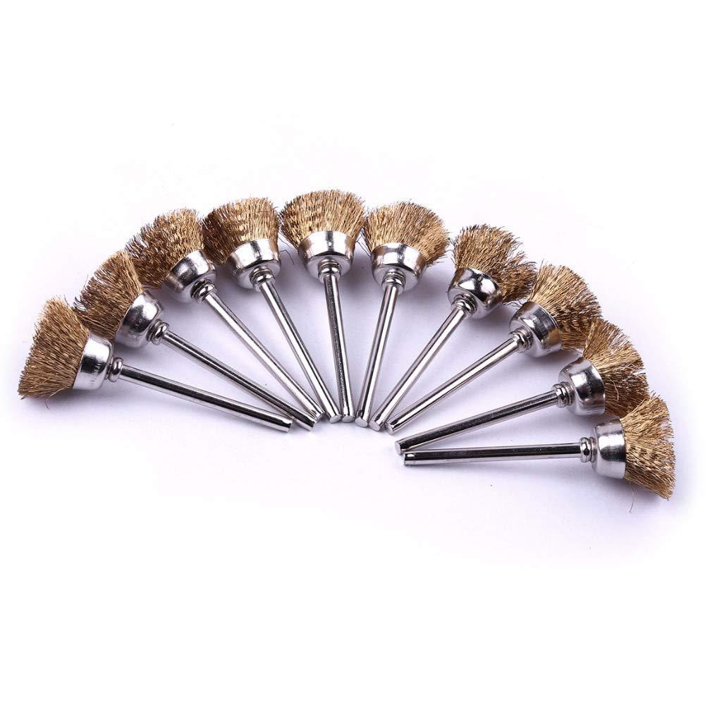 LOCHI 10pcs/Set Cup Shape Brass Wire Brush Kit 1/839;39; shank 239;39; length Brushes for removing rust & oxidation Polishing Brush Tool set NEW PRODUCT