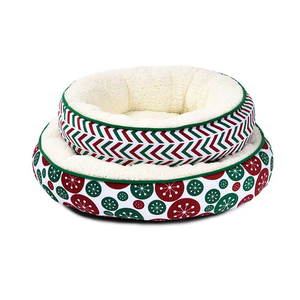 Short plush round warm soft fur christmas dog bed