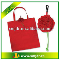 Red Rose Polyester Folding Shopping Bag Wholesale