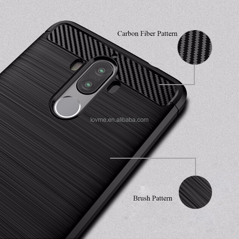 Luxury Brushed TPU Silicone Carbon Fiber Mobile Phone Shell Case Cover For Huawei Mate 9