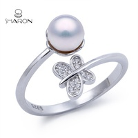 Butterfly And Flower Sterling Silver 925 New Model Pearl Ring Opening Jewelry