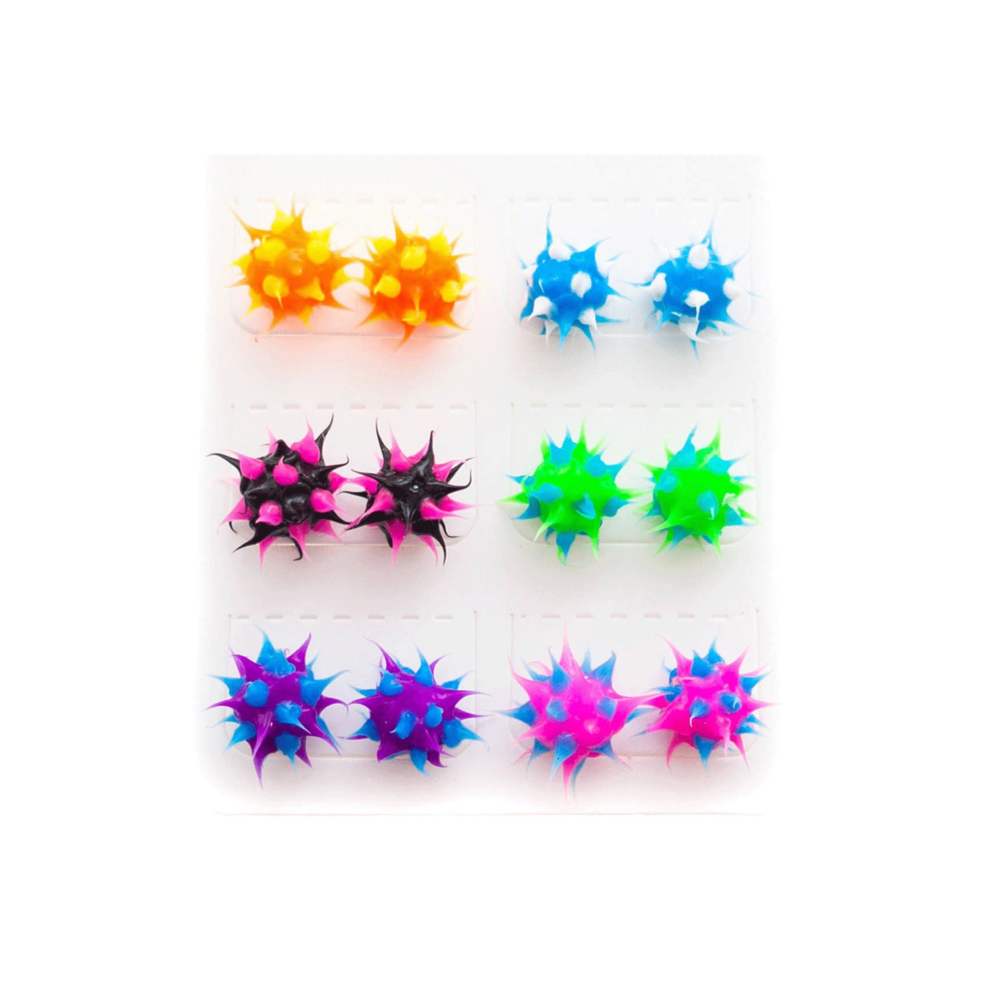 Spiky Silicone Stud Earrings for Women,Teens,Girls,Kids | Multicolored Rave Ball Earrings| Soft Hypoallergenic Silicone Spikes for Fidget and Sensory | Frogsac