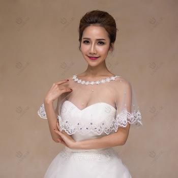 White Lace Appliques Brides Cape Bridal Bolero With Crystals Bling ...