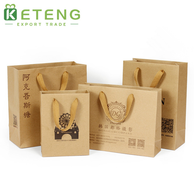 Custom logo print cheap brown shopping kraft paper bags with handles
