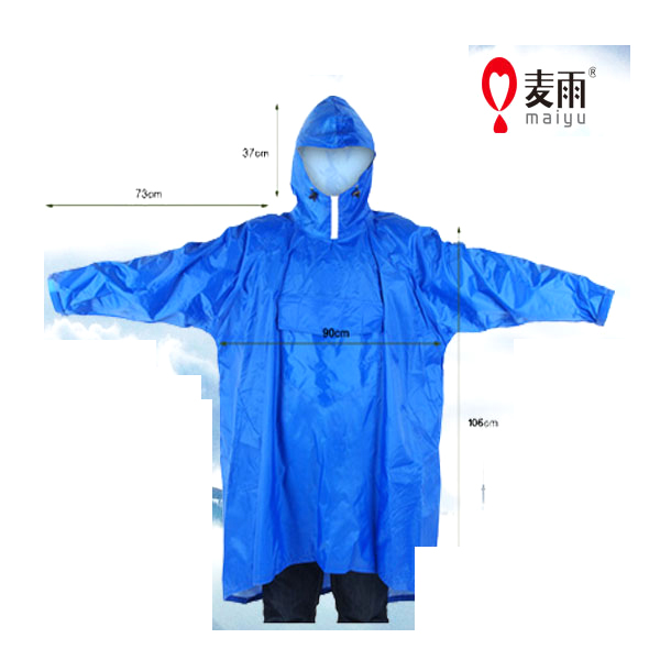 Poncho imperméable et respirant Maiyu 100% polyester imperméable avec manches