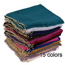 High quality new style hijab women muslim girl hijab style scarf pearls voile beaded hijab scarf