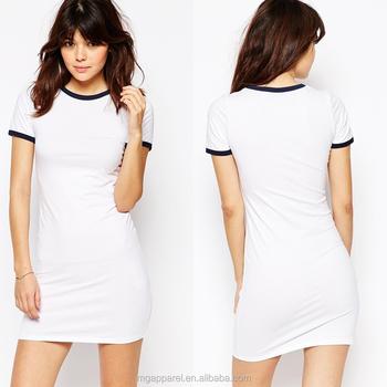 5f6b711ba 2016 ropa de moda de verano de las mujeres bodycon camiseta en blanco  vestidos para las