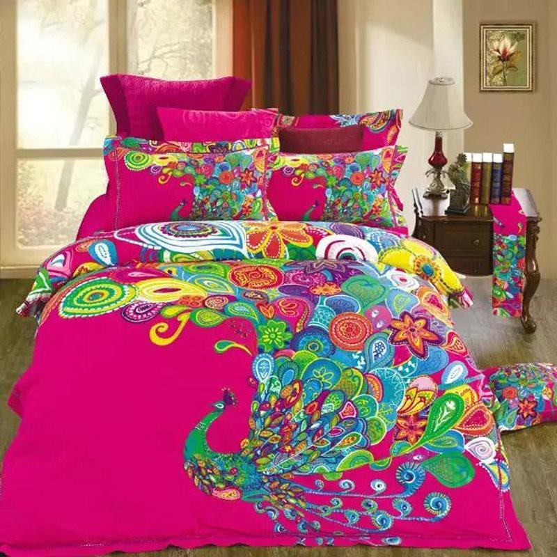 Unique Design Colorful Peacock Print Bedding Set Queen