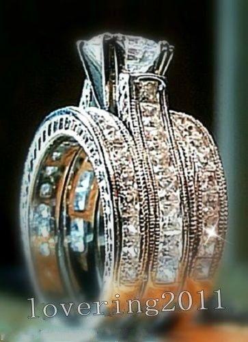 Victoria Wieck Femal Jewelry Nice Princess cut Diamonique Cz Diamond 14KT White Gold GF 3 Wedding