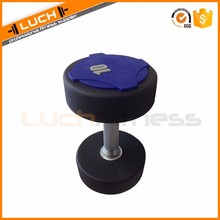 Commercial use weight lifting urethane coated dumbbell for sale, PU dumbbell