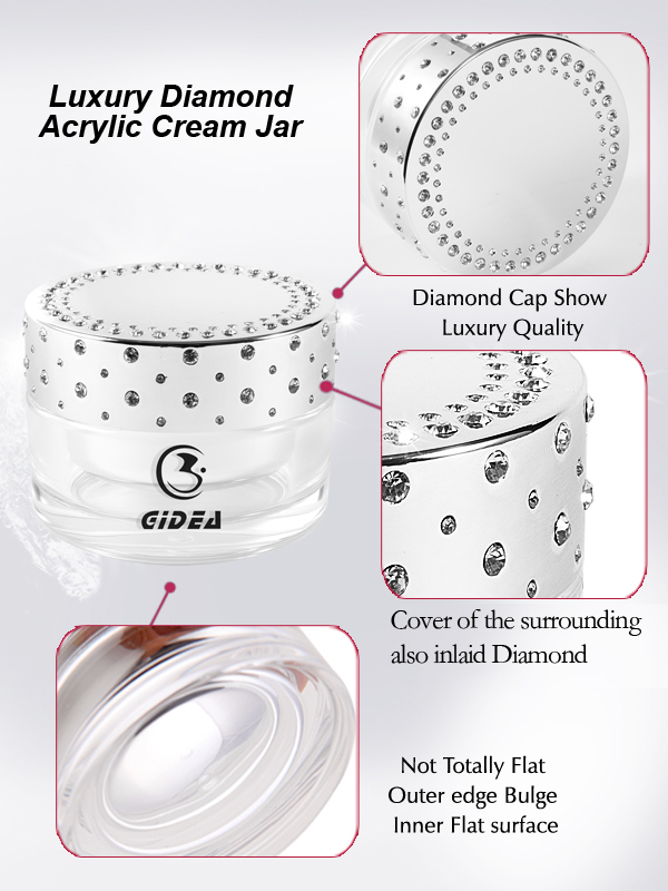 small diamonds inlaid 100g silver cosmetic jar and Low order quantity