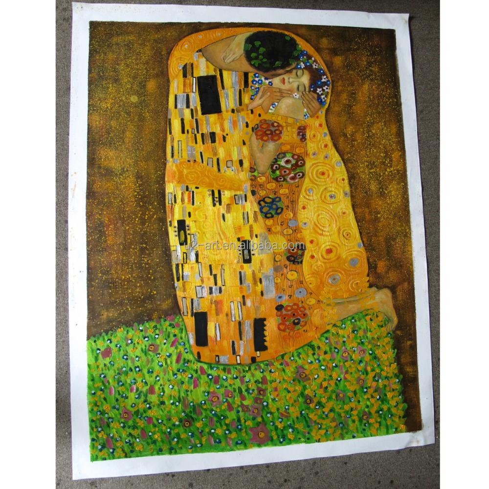 main peinture l 39 huile reproduction le baiser par gustav klimt peinture et calligraphie id de. Black Bedroom Furniture Sets. Home Design Ideas