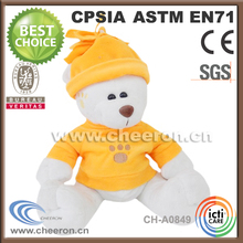 Latest stuffed promotion personalized snow-white plush bear toys in t shirt