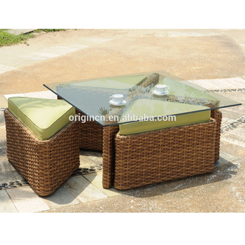 Sushi Restaurant Or Home Balcony Used Rattan Bench Ottoman Chair And Table Anese Outdoor Furniture