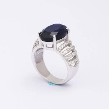 37a2c4860bc1 Chile moda joyería hermosa diseños cadena plata 925 anillo de zafiro azul  para ...