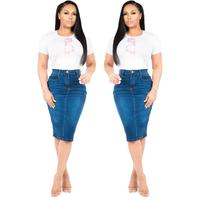HSF2050 2019 new fashion style women ladies classic denim tight jeans skirt