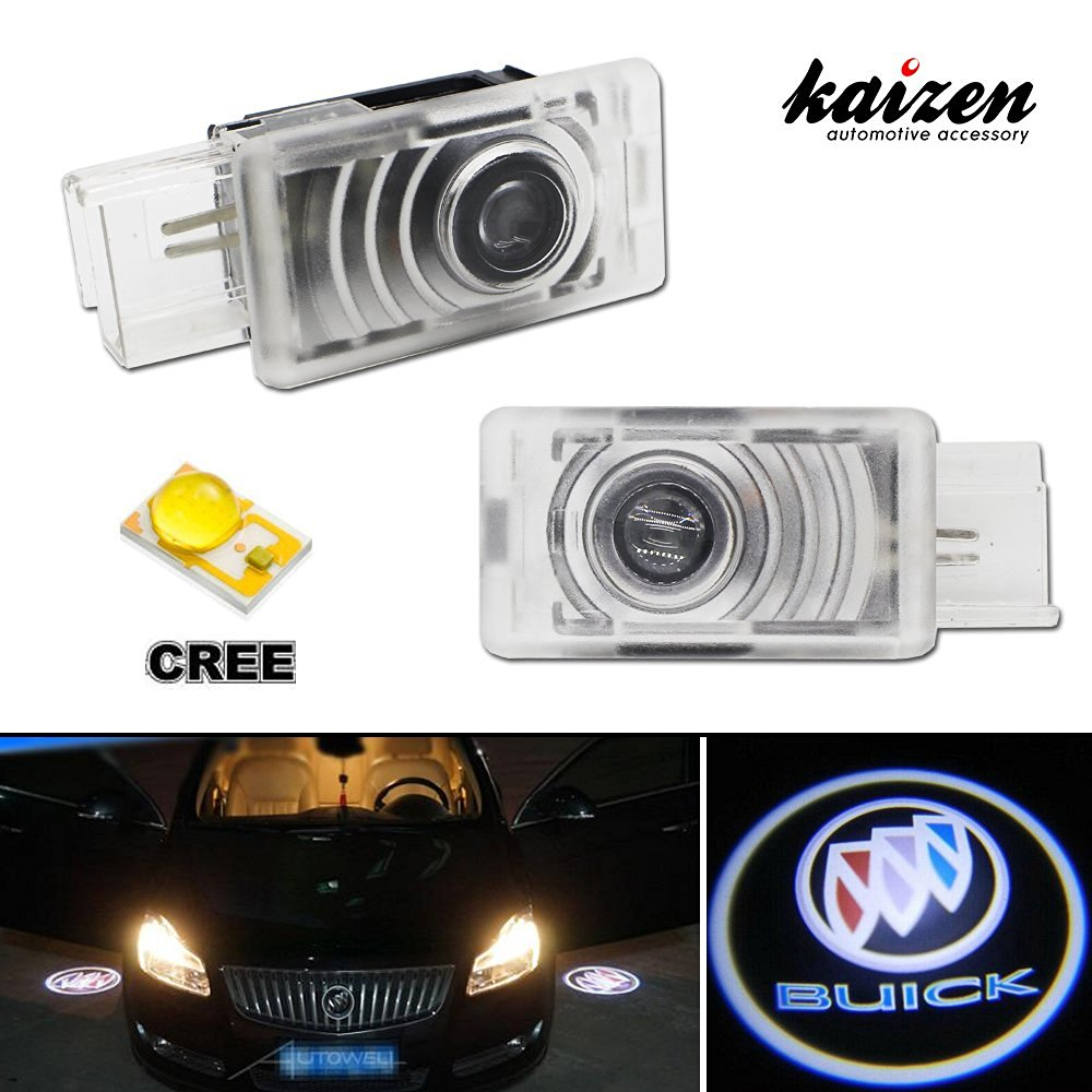 Kaizen 2 Pcs OEM Fit Super Bright LED Laser Ghost Shadow CREE Door Step Courtesy Welcome Light Lamps For Buick LaCrosse Regal CAN-bus No Error Color Black