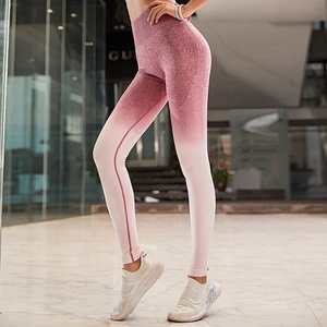 2018 New Wholesale Lady logo Sports Workout Legging nylon High Waist Knit Yoga Pants Gym Fitness Seamless wear clothes For women